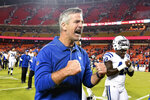 Indianapolis Colts coach Frank Reich heads off the field after the Colts defeated the Kansas City Chiefs 19-13 in sn NFL football game in Kansas City, Mo., Sunday, Oct. 6, 2019. (AP Photo/Ed Zurga)