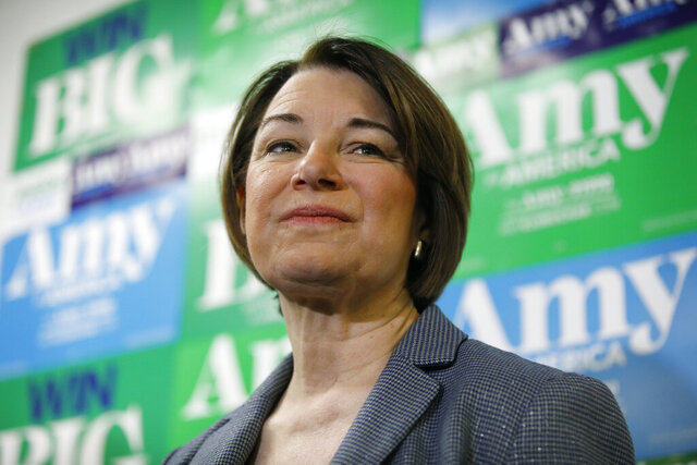 Democratic presidential candidate Sen. Amy Klobuchar, D-Minn., pauses during a visit to a campaign office, Saturday, Feb. 22, 2020, in Las Vegas. (AP Photo/John Locher)