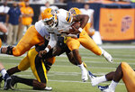 UTEP quarterback Kai Locksley (1) runs for short yards against Southern Mississippi during the first half of their NCAA college football game in Hattiesburg, Miss., Saturday, Sept. 28, 2019. (AP Photo/Rogelio V. Solis)