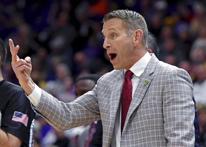 Alabama head coach Nate Oats implores his team to quit fouling in the first half of an NCAA college basketball game against LSU, Wednesday, Jan. 29, 2020, in Baton Rouge, La. (AP Photo/Bill Feig)