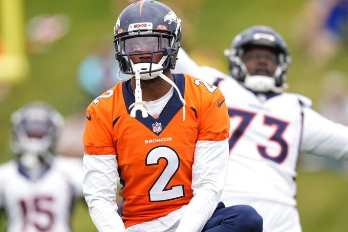Denver Broncos cornerback Pat Surtain II takes part in drills during an NFL football training camp at the team's headquarters Thursday, Aug. 19, 2021, in Englewood, Colo. (AP Photo/David Zalubowski)