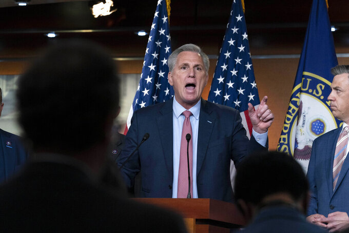 """House Minority Leader Kevin McCarthy, R-Calif., speaks during a news conference on Capitol Hill, in Washington, Wednesday, July 21, 2021. Pelosi is rejecting two Republicans tapped by McCarthy to sit on a committee investigating the Jan. 6 Capitol insurrection. She cited the """"integrity"""" of the investigation. (AP Photo/Jose Luis Magana)"""