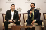 Donald Trump Jr., right, son of U.S. President Donald Trump, speaks as Media Nusantara Citra (MNC) Group President and CEO Hary Tanoesoedibjo listen during a press conference in Jakarta, Indonesia, Tuesday, Aug. 13, 2019. U.S. President Donald Trump's son and his Indonesian business partner say a theme park that also features a Trump hotel and condos will no longer have Chinese financing. (AP Photo/Fadlan Syam)