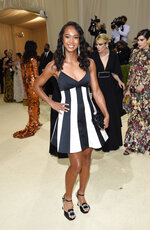 """Leylah Fernandez attends The Metropolitan Museum of Art's Costume Institute benefit gala celebrating the opening of the """"In America: A Lexicon of Fashion"""" exhibition on Monday, Sept. 13, 2021, in New York. (Photo by Evan Agostini/Invision/AP)"""