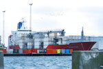 The cargo ship Duncan Island in Kalundborg Harbour in Denmark on Sunday, Feb. 16, 2020. Danish police say they have arrested 27 people for suspected drug smuggling after having found some 100 kilograms of cocaine at a Bahamas-registered cargo vessel, the Duncan Island, plying on Danish waters. (Claus Bech/Ritzau Scanpix via AP)
