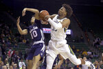 Baylor forward Freddie Gillespie (33) and Jackson State guard Cainan McClelland (10) reach for the loose ball in the first half of an NCAA college basketball game, Monday, Dec. 30, 2019, in Waco, Texas. (AP Photo/Jerry Larson)