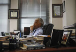 The Rev. Al Sharpton listens during an interview at his office, Thursday, July 30, 2020, in New York. For more than three decades, Sharpton, 65, has been an advocate for Black American families seeking justice in the wake of violence that highlight systemic racism.(AP Photo/Bebeto Matthews)