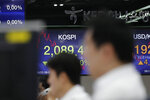 Currency trader watch their computer monitors near screens showing the Korea Composite Stock Price Index (KOSPI) at the foreign exchange dealing room in Seoul, South Korea, Monday, Sept. 23, 2019. Stocks got a downbeat start to the week as investors kept a wary eye on tensions with Iran and on signals from China and the U.S. on prospects for a resolution of their tariffs war. (AP Photo/Lee Jin-man)