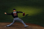Atlanta Braves' Sean Newcomb pitches during the second inning of a baseball game against the Philadelphia Phillies, Monday, Aug. 10, 2020, in Philadelphia. (AP Photo/Matt Slocum)