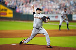 San Francisco Giants starting pitcher Trevor Cahill throws against the Houston Astros during the first inning of a baseball game Wednesday, Aug. 12, 2020, in Houston. (AP Photo/David J. Phillip)