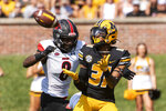 Missouri wide receiver D'ionte Smith, right, catches a touchdown pass in front of Southeast Missouri State defensive back Trai Hodges, left, during the first quarter of an NCAA college football game Saturday, Sept. 18, 2021, in Columbia, Mo. (AP Photo/L.G. Patterson)