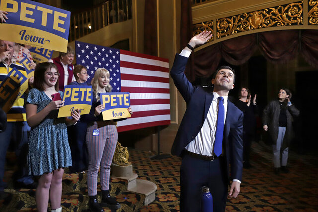 Democratic presidential candidate former South Bend, Ind., Mayor Pete Buttigieg, waves at the conclusion of a town hall meeting at the Orpheum Theatre in Sioux City, Iowa, Friday, Jan. 31, 2020. (AP Photo/Gene J. Puskar)