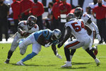 Carolina Panthers running back Mike Davis (28) splits between Tampa Bay Buccaneers linebacker Devin White (45) and outside linebacker Lavonte David (54) during the second half of an NFL football game Sunday, Sept. 20, 2020, in Tampa, Fla. (AP Photo/Jason Behnken)