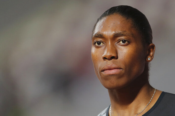 FILE - In this May 3, 2019 file photo, South Africa's Caster Semenya competes in the women's 800-meter final during the Diamond League in Doha, Qatar.  Court documents released publicly for the first time this week reveal previously hidden details of Caster Semenya's 10-year battle with the international track body. In them, the two-time Olympic 800-meter champion said the IAAF accused her of intentionally running slowly at times to mask the alleged advantage she has from her elevated natural testosterone. She angrily denied the accusation.   (AP Photo/Kamran Jebreili)