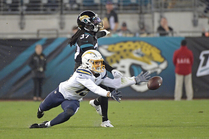 Jacksonville Jaguars cornerback Tre Herndon (37) breaks up a pass intended for during the second half of an NFL football game, Sunday, Dec. 8, 2019, in Jacksonville, Fla. (AP Photo/Phelan M. Ebenhack)