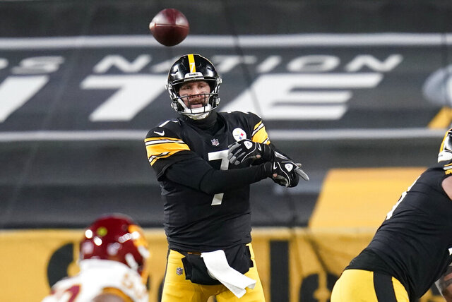 Pittsburgh Steelers quarterback Ben Roethlisberger (7) throws a pass during the second half of an NFL football game against the Washington Football Team, Monday, Dec. 7, 2020, in Pittsburgh. (AP Photo/Keith Srakocic)