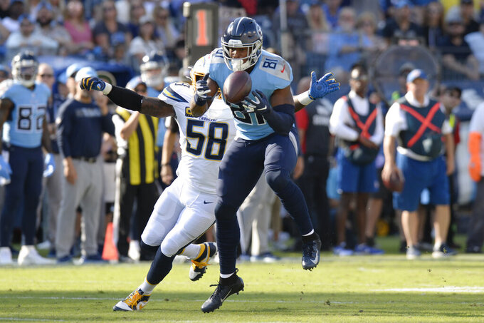 Tennessee Titans tight end Jonnu Smith (81) catches a pass in front of Los Angeles Chargers outside linebacker Thomas Davis (58) in the first half of an NFL football game Sunday, Oct. 20, 2019, in Nashville, Tenn. (AP Photo/Mark Zaleski)