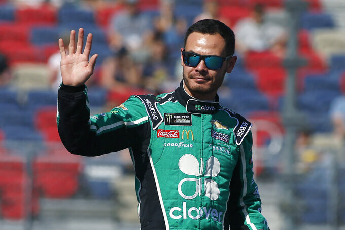 Kyle Larson during driver introductions prior to the NASCAR Cup Series auto race at ISM Raceway, Sunday, Nov. 10, 2019, in Avondale, Ariz. (AP Photo/Ralph Freso)