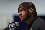 Georgia running back D'Andre Swift speaks during a press conference at the NFL football scouting combine in Indianapolis, Wednesday, Feb. 26, 2020. (AP Photo/Michael Conroy)