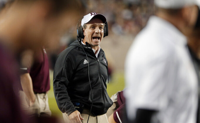 Texas A&M coach Jimbo Fisher shouts during a timeout in the first half of an NCAA college football game against UAB on Saturday, Nov. 17, 2018, in College Station, Texas. (AP Photo/Michael Wyke)