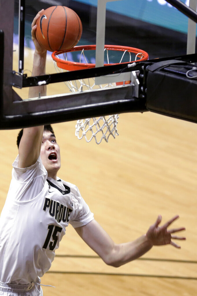Purdue center Zach Edey shoots during the first half of the team's NCAA college basketball game against Valparaiso on Friday, Dec. 4, 2020, in West Lafayette, Ind. (Nikos Frazier/Journal & Courier via AP)
