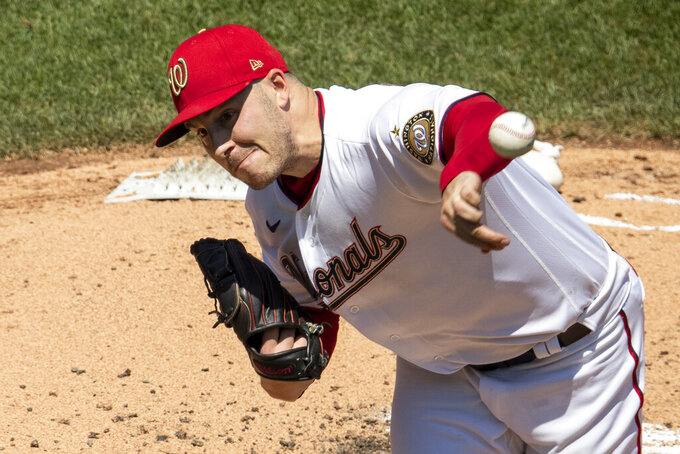 Washington Nationals starting pitcher Patrick Corbin throws during the third inning of a baseball game against the New York Yankees at Nationals Park, Sunday, July 26, 2020, in Washington. (AP Photo/Alex Brandon)