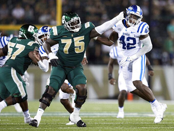 Charlotte offensive lineman T.J. Moore (75) blocks Duke linebacker Shaka Heyward (42) during an NCAA college football game on Friday, Sept. 3, 2021, in Charlotte, N.C. (AP Photo/Brian Westerholt)