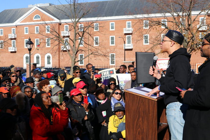 Chinedu Nwokeafor, an alumnus of Morgan State University, speaks during a rally in support of Maryland's four historically black colleges in Annapolis, Maryland, on Wednesday, Nov. 13, 2019. (AP Photo/Brian Witte)