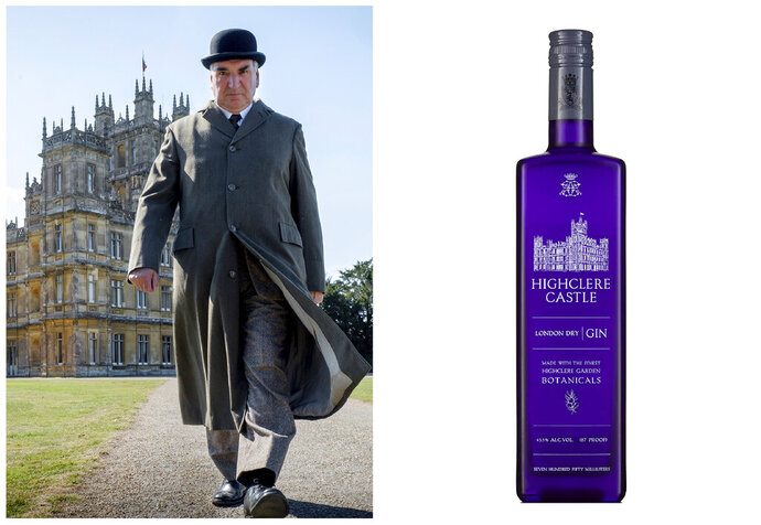 This combination photo shows actor Jim Carter portraying Mr. Carson walking away from Highclere Castle in a scene from the film