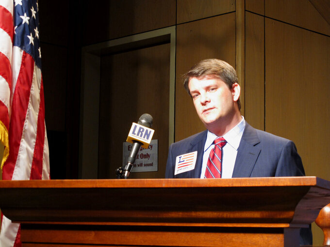 Luke Letlow, R-Start, chief of staff to exiting U.S. Rep. Ralph Abraham, speaks after signing up to run for Louisiana's 5th Congressional District, on July 22, 2020, in Baton Rouge, La. (AP Photo/Melinda Deslatte)