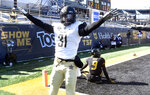 Vanderbilt defensive back Alim Muhammad celebrates after breaking up a pass in the end zone intended for Missouri wide receiver Jalen Knox (9) during the first half of an NCAA college football game Saturday, Nov. 10, 2018, in Columbia, Mo. (AP Photo/L.G. Patterson)