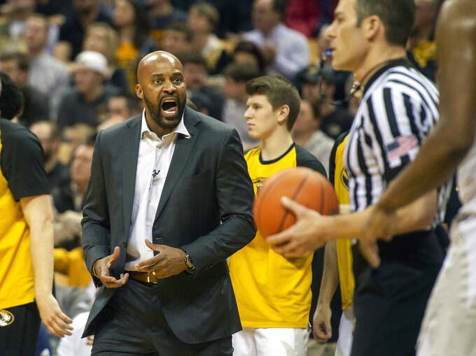 Missouri head coach Cuonzo Martin argues a call during the first half of an NCAA college basketball game against Tennessee Tuesday, Jan. 8, 2019, in Columbia, Mo. (AP Photo/L.G. Patterson)