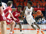 Illinois guard Ayo Dosunmu (11) is defended by Wisconsin guard Khalil Iverson (21) during the first half of an NCAA college basketball game in Champaign, Ill., Wednesday, Jan. 23, 2019. (AP Photo/Stephen Haas)