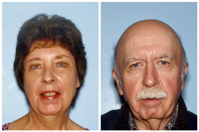 FILE - This combination of images provided Jan. 26, 2015, by the Cobb County Police Department, shows June Runion, left, of Marietta, Ga., and her husband, Elrey