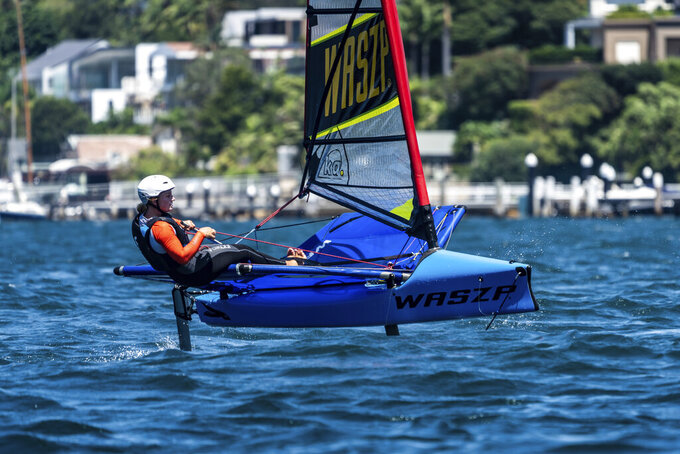 This photo provided by SailGP shows Australia SailGP women's team member Natasha Bryant, in Sydney, Australia on Feb. 5, 2021. Others participating in the camp with Bryant, were Nina Curtis, Mara Stransky and Hayley Outteridge who were also selected for the camp but were unable to attend due to COVID border restrictions in Australia. (Beau Outteridge/SailGP via AP)