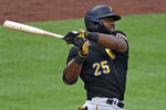 Pittsburgh Pirates Gregory Polanco singles off Pirates pitcher Joe Musgrove during the team's intrasquad baseball game at PNC Park in Pittsburgh, Monday, July 13, 2020. (AP Photo/Gene J. Puskar)