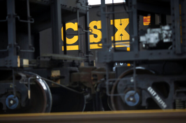 FILE - In this March 21, 2014, file photo, CSX hopper cars sit in a yard in Baltimore. CSX Corp. (CSX) on Wednesday, Oct. 21, 2020 reported third-quarter net income of $736 million. (AP Photo/Patrick Semansky, File)