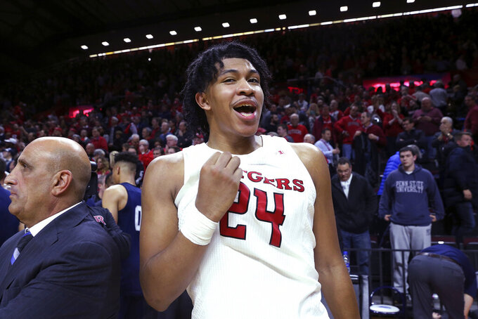 Rutgers guard Ron Harper Jr. reacts after the team's 72-61 win over Penn State in an NCAA college basketball game Tuesday, Jan. 7, 2020, in Piscataway, N.J. (AP Photo/Michael Owens)