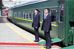 In this photo released by Press office of the administration of Primorsky Krai region, North Korea's security officers wait for North Korean leader Kim Jong Un near the train as he leaves Russia, at the main train station in Vladivostok, Russia, Friday, April 26, 2019. (Alexander Safronov/Press Office of the Primorye Territory Administration via AP)