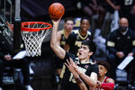 Purdue center Zach Edey (15) shoots against Indiana during the second half of an NCAA college basketball game in West Lafayette, Ind., Saturday, March 6, 2021. (AP Photo/Michael Conroy)