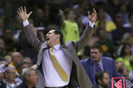 Baylor coach Scott Drew reacts to a call during the second half of the team's NCAA college basketball game against Oklahoma State, Saturday, Feb. 8, 2020, in Waco, Texas. (AP Photo/Rod Aydelotte)