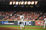 Houston Astros starting pitcher Gerrit Cole (45) walks to the mound after a strikeout against the Tampa Bay Rays during the seventh inning of Game 2 of a baseball American League Division Series in Houston, Saturday, Oct. 5, 2019. (AP Photo/Eric Christian Smith)