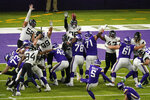 Minnesota Vikings place kicker Dan Bailey (5) kicks a 23-yard field goal during overtime in an NFL football game against the Jacksonville Jaguars, Sunday, Dec. 6, 2020, in Minneapolis. The Vikings won 27-24. (AP Photo/Charlie Neibergall)