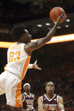 Tennessee's Jordan Bowden drives for a layup against Mississippi State during an NCAA college basketball game Tuesday, March 5, 2019, in Knoxville, Tenn. (Tom Sherlin/The Daily Times via AP)