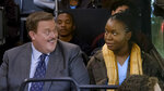 This image released by CBS shows Billy Gardell as Bob, left, and Folake Olowofoyeku as Abishola in a scene from