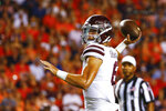 Mississippi State quarterback Garrett Shrader (6) throws a pass for a touchdown during the first half of an NCAA college football game against Auburn, Saturday, Sept. 28, 2019, in Auburn, Ala. (AP Photo/Butch Dill)
