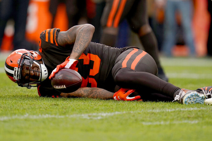 Cleveland Browns tight end Ricky Seals-Jones (83) lies on the field after an injury against the Denver Broncos during the first half of NFL football game, Sunday, Nov. 3, 2019, in Denver. (AP Photo/Jack Dempsey)