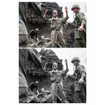 """This photo combination shows digital colorization, top, by Anju Niwata and Hidenori Watanave, and original black and white photo that the first of 20 Japanese emerges from an Iwo Jima cave on April 5, 1945, with his hands in the air. The group had been hiding for several days. Niwata and Watanave started the photo colorization project in 2018. They call it """"Rebooting Memories,"""" and they published a book last month of the colorized versions of about 350 monochrome pictures taken before, during and after the Pacific War. (U.S. Army Signal Corps/Anju Niwata & Hidenori Watanave via AP)"""