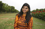 """In this Tuesday, April 16, 2019, photo, a banking and financial services student Kavita Srivastava, 18, stands for a photograph in New Delhi, India. With nearly half the electorate under 35 and more than 15 million first time voters, India's young can swing the national vote  in the world's largest democracy in any direction. """"The biggest issue in Delhi is girls' safety, which is still not 100%. So the main issue is that ... girls should feel safe leaving their homes and going out at whatever time of the night. I don't think Rahul Gandhi is the best option. I too am in support of Narendra Modi. I think he has the potential to take India to those heights,"""