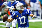 Indianapolis Colts quarterback Philip Rivers (17) throws against the New York Jets in the first half of an NFL football game in Indianapolis, Sunday, Sept. 27, 2020. (AP Photo/AJ Mast)